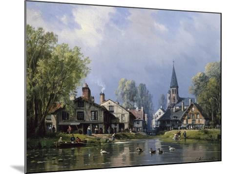 A Busy Riverside Village-Charles Euphrasie Kuwasseg-Mounted Giclee Print
