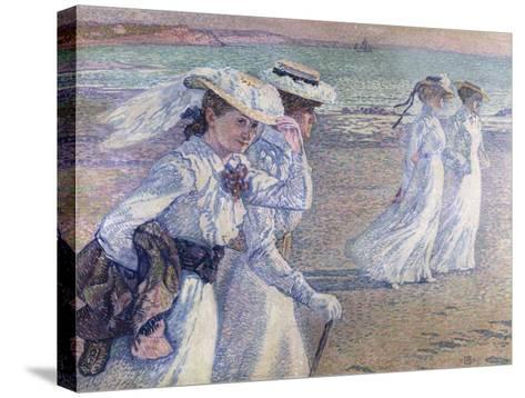 A Walk on the Beach-Theo van Rysselberghe-Stretched Canvas Print