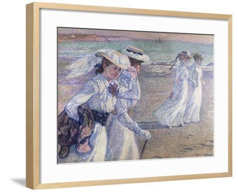 A Walk on the Beach-Theo van Rysselberghe-Framed Art Print