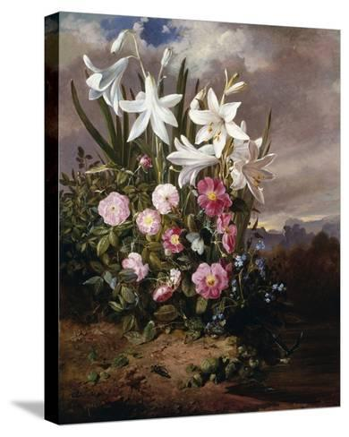 A Still Life of Flowers and Butterflies-Joseph Schuster-Stretched Canvas Print