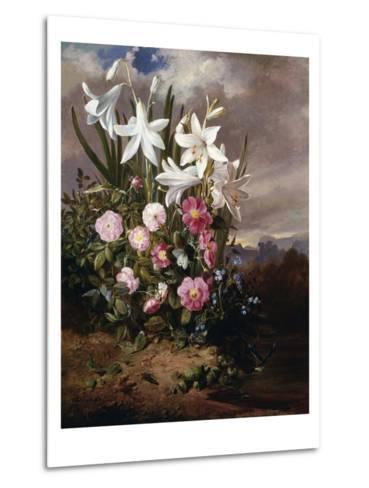 A Still Life of Flowers and Butterflies-Joseph Schuster-Metal Print