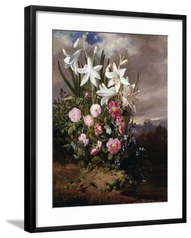 A Still Life of Flowers and Butterflies-Joseph Schuster-Framed Art Print