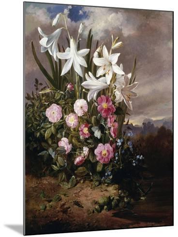 A Still Life of Flowers and Butterflies-Joseph Schuster-Mounted Giclee Print