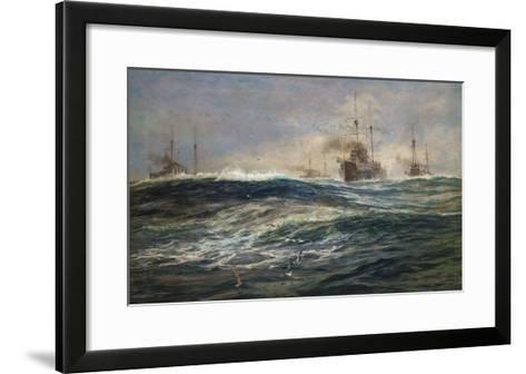 The First Battle Squadron of Dreadnoughts Steaming down the Channel-William Lionel Wyllie-Framed Art Print