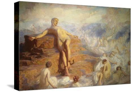 Prometheus Consoled by the Spirits of the Earth-George Spencer Watson-Stretched Canvas Print