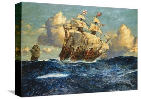 The English Fleet at Sea-Charles Dixon-Stretched Canvas Print