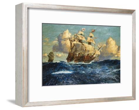 The English Fleet at Sea-Charles Dixon-Framed Art Print
