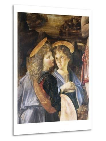 Detail of Baptism of Christ-Leonardo da Vinci-Metal Print