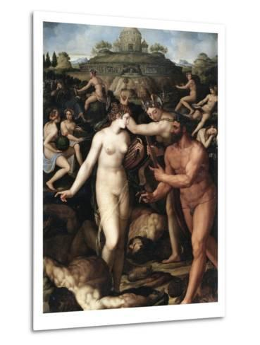 Hercules and the Muses-Alessandro Allori-Metal Print