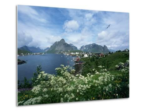 View of Fishing Village and Island-Kevin Schafer-Metal Print