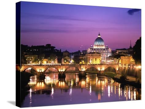 Sant'Angelo Bridge over Tiber River-Dennis Degnan-Stretched Canvas Print
