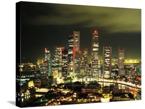 Metropolitan Singapore at Night--Stretched Canvas Print