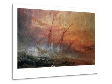 Detail of Sailing Ship from The Slave Ship-J^ M^ W^ Turner-Metal Print