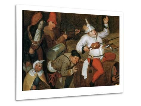 Detail of Combat Between Carnival and Lent-Pieter Bruegel the Elder-Metal Print