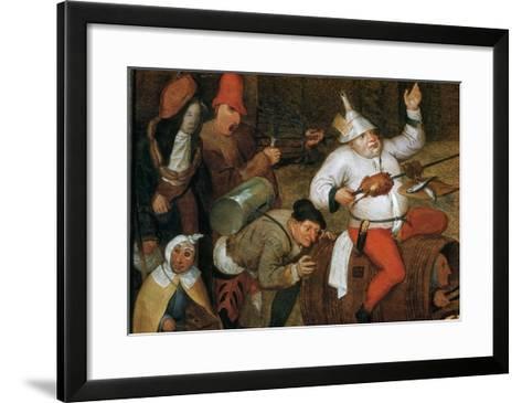 Detail of Combat Between Carnival and Lent-Pieter Bruegel the Elder-Framed Art Print