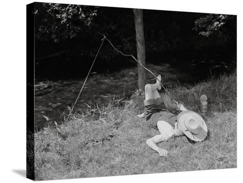 Boy Fishing in the Country-Bettmann-Stretched Canvas Print
