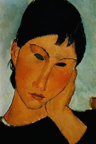 Detail of Female Head from Elvira Resting at a Table-Amedeo Modigliani-Stretched Canvas Print