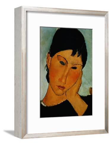Detail of Female Head from Elvira Resting at a Table-Amedeo Modigliani-Framed Art Print