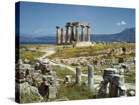 Distant View of the Temple of Apollo at Corinth-Bettmann-Stretched Canvas Print