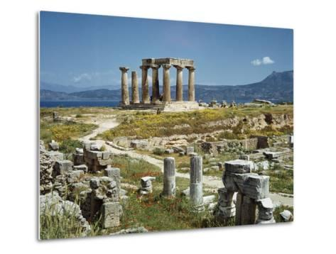 Distant View of the Temple of Apollo at Corinth-Bettmann-Metal Print