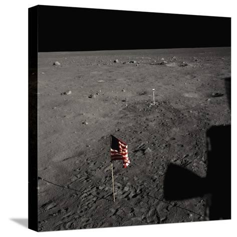 American Flag on the Moon--Stretched Canvas Print