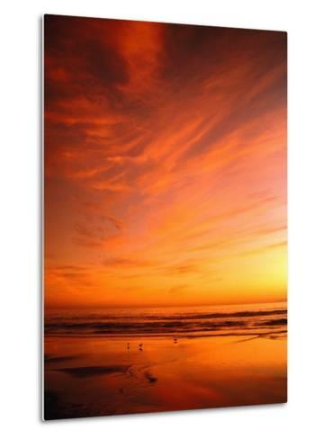 Southern California Sunset at Beach-Mick Roessler-Metal Print