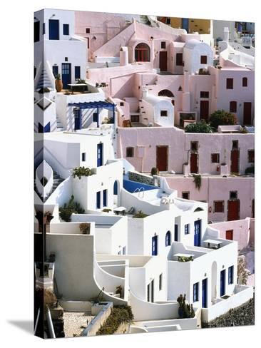 Hillside Buildings on Santorini-Bob Jacobson-Stretched Canvas Print