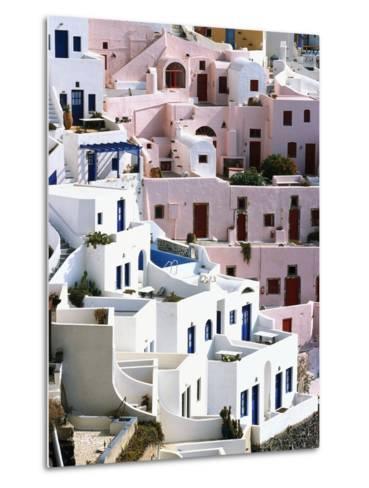 Hillside Buildings on Santorini-Bob Jacobson-Metal Print