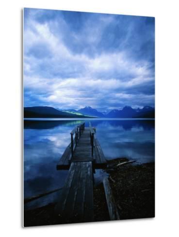 Pier at Lake McDonald Under Clouds-Aaron Horowitz-Metal Print
