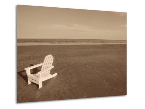 Lone Chair on Empty Beach--Metal Print