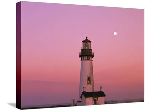 Lighthouse by Beach at Dusk-Craig Tuttle-Stretched Canvas Print