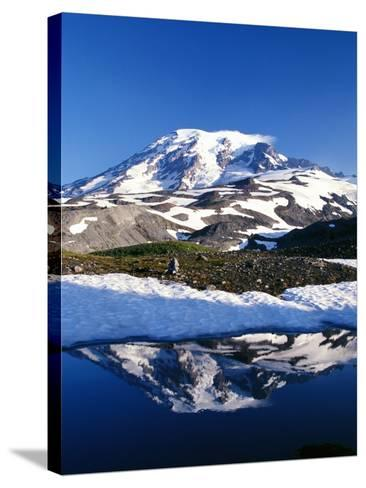 Alpine Lake Reflecting Mt. Rainier-Craig Tuttle-Stretched Canvas Print