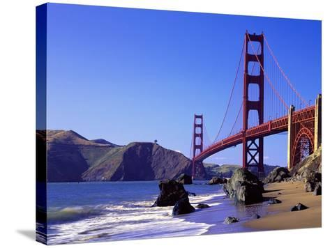 Beach and Golden Gate Bridge-William Manning-Stretched Canvas Print