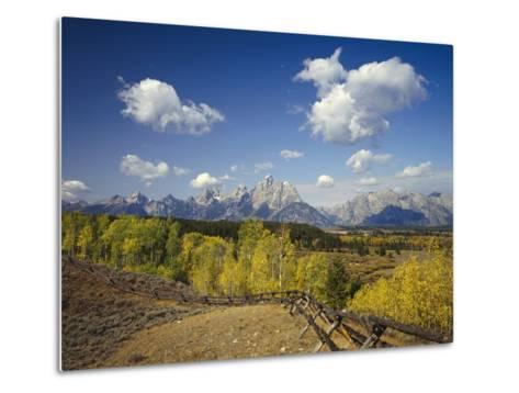 Fence Bordering Ranch Near the Teton Range-Craig Tuttle-Metal Print