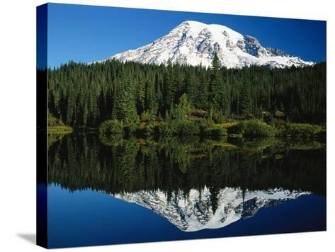 Mt. Rainier Reflecting in Lake-Craig Tuttle-Stretched Canvas Print
