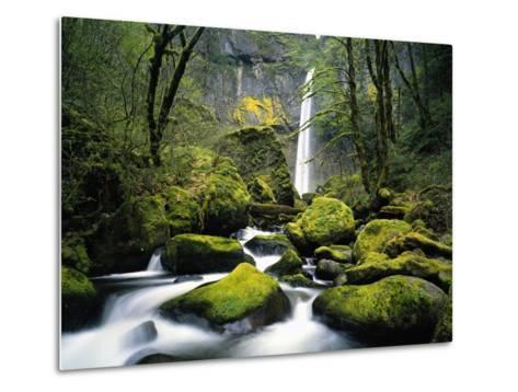 Stream Flowing over Mossy Rocks-Craig Tuttle-Metal Print