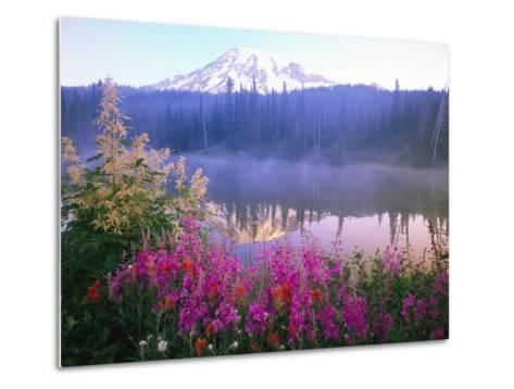 Wildflowers in Bloom by Lake on Mount Rainier-Craig Tuttle-Metal Print