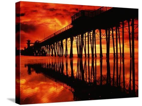 Study of Pier, Sky, and Water-Richard Cummins-Stretched Canvas Print