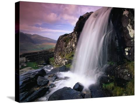 Waterfall and Jagged Rocks in the Irish Countryside-Richard Cummins-Stretched Canvas Print