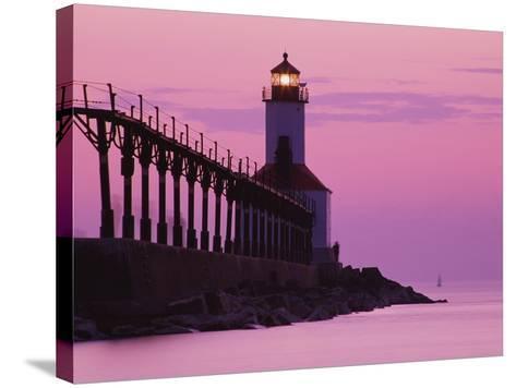 Michigan City Lighthouse at Sunset-Richard Cummins-Stretched Canvas Print