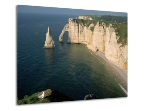 The Manneport Arch and Aiguille of Etretat Cliffs, France-Franz-Marc Frei-Metal Print