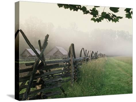 Morning Fog on a Mountain Farm-Gary W^ Carter-Stretched Canvas Print
