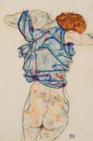 Woman Undressing-Egon Schiele-Stretched Canvas Print