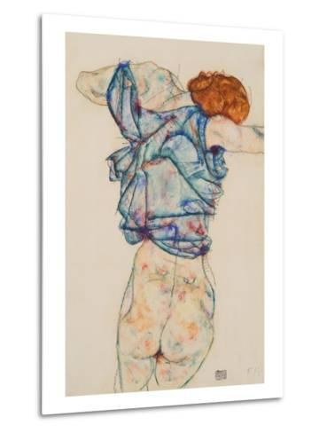 Woman Undressing-Egon Schiele-Metal Print