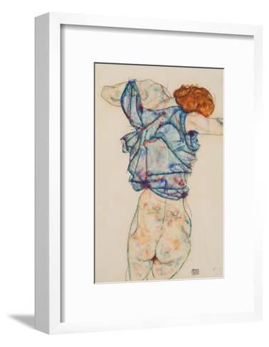 Woman Undressing-Egon Schiele-Framed Art Print