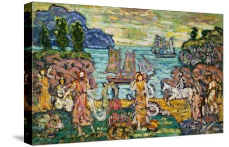 Painting of a Seaside Scene by Maurice Prendergast-Geoffrey Clements-Stretched Canvas Print
