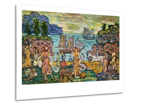 Painting of a Seaside Scene by Maurice Prendergast-Geoffrey Clements-Metal Print