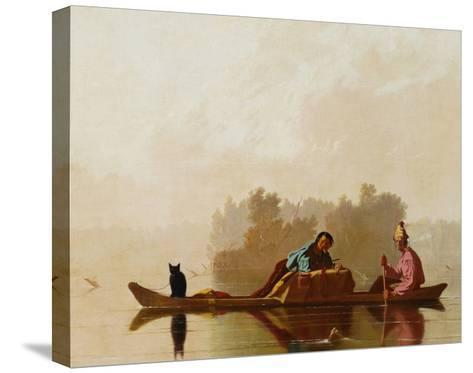 Fur Traders Descending the Missouri-George Caleb Bingham-Stretched Canvas Print