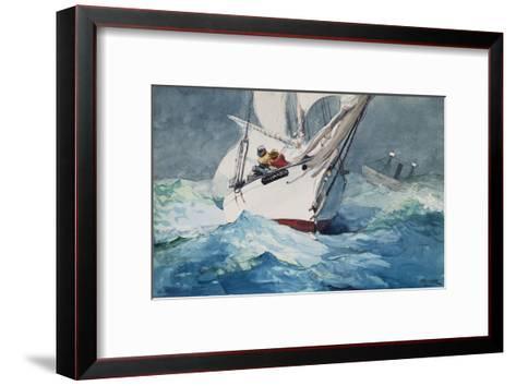 Reefing Sails Around Diamond Shoals, Cape Hatteras-Winslow Homer-Framed Art Print