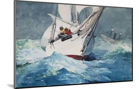 Reefing Sails Around Diamond Shoals, Cape Hatteras-Winslow Homer-Mounted Giclee Print